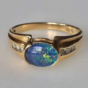 Retro 14k Australian Black Opal Diamond Ring 3.3g